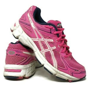 Asics Kids GT-1000 Running Shoes Size 4 Pink Blue Ribbon Breast Cancer C351N