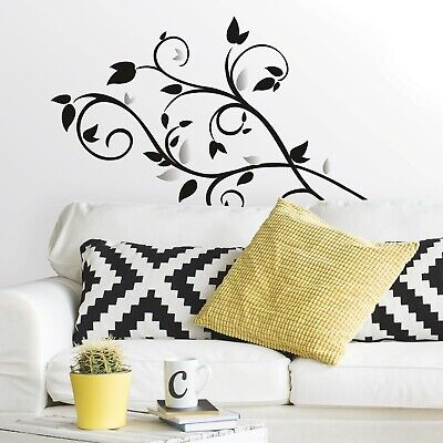 New SCROLL TREE BRANCH w/ FOIL LEAVES 57 WALL DECALS ...