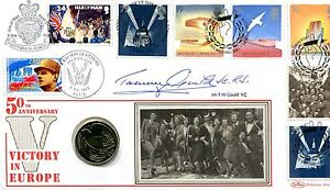 Benham SIGNED Coin Cover 1995 Victory in Europe Anniversary SIGNED T W GOULD VC