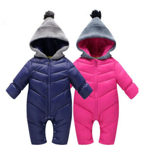 07953c5ded99 Newborn Baby Girl Boy Winter Snowsuit Duck Down Romper Windproof ...
