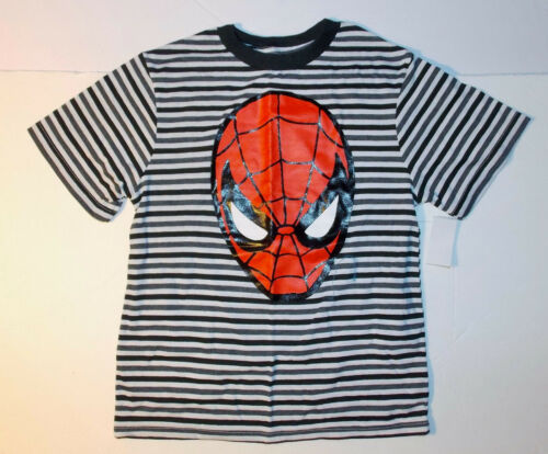 Marvel Comics Spiderman Boys T-Shirt Black Gray White Stirped Sizes 5-6 or 7 NWT