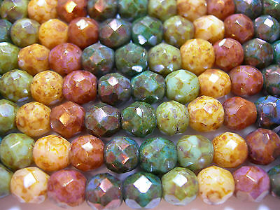 25 6mm Rainbow Picasso Luster Fire Polish Czech Glass Beads