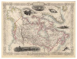 Canada-Ontario-Quebec-Columbia-Alberta-illustrated-map-John-Tallis-ca-1851