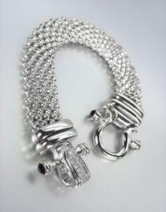 NEW-Designer-Inspired-Silver-Mesh-Black-Onyx-CZ-Pave-Crystals-Buckle-Bracelet