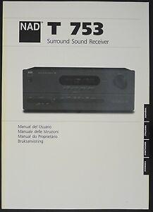 nad t 753 original surround sound receiver manual ebay rh ebay com Instruction Manual Example Owner's Manual
