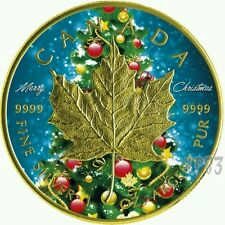2016 Canada 1 OZ Silver $5 Maple Leaf Christmas colorized & gold gilded Coin..