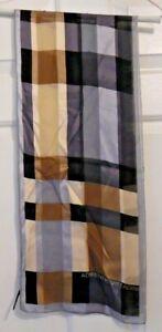 TERRIART-Neutral-Shades-of-Plaid-SILK-10x52-Lg-Scarf-Vintage-Adrienne-Vittadini