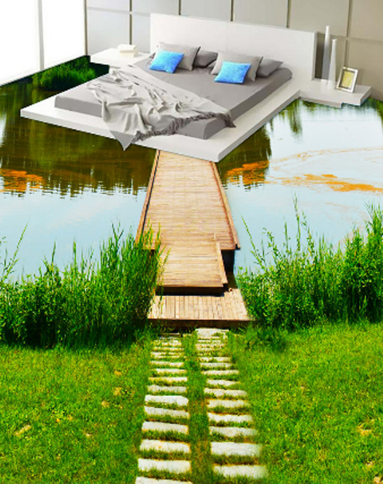 3D Grassland River 505 Floor WallPaper Murals Wallpaper Mural Print AJ AU Lemon