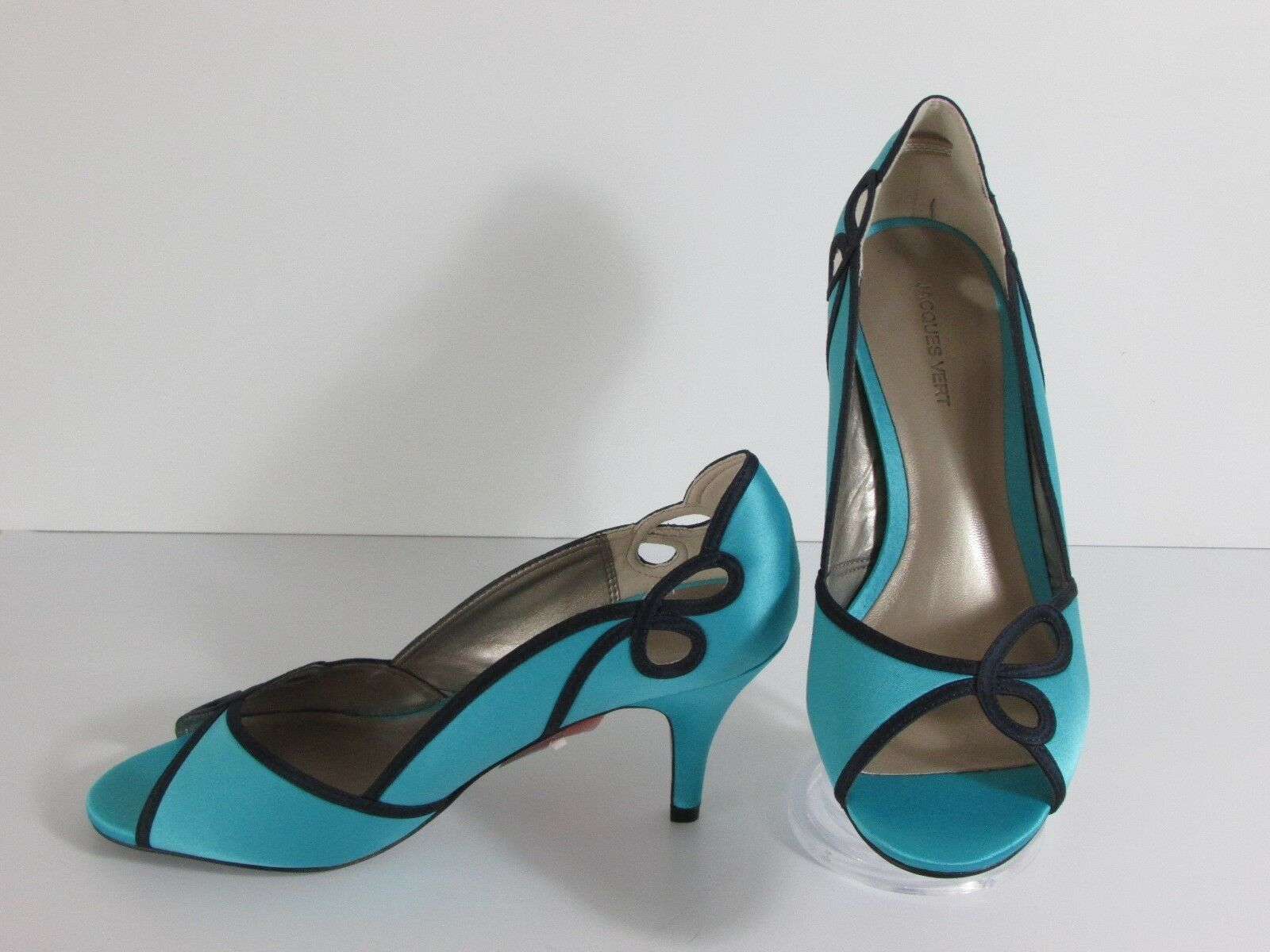 New Jacques green Turquoise Scallop Peep-Toe Court shoes 7 40            R2