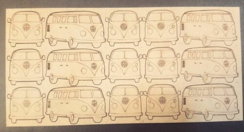 VW Camper Van x15 5cm Wood Craft Embellishments Laser Cut Shape 2mm MDF
