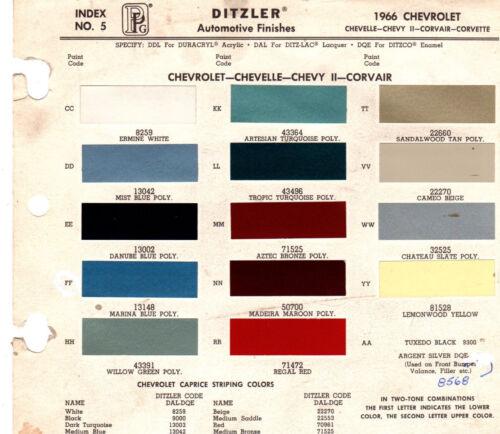1966 CHEVROLET IMPALA EL CAMINO CAPRICE MALIBU CHEVELLE 66 PAINT CHIPS DITZLER