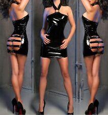 Plus Size S-XXL SEXY BLACK PVC DRESS WITH BUCKLES HALTERNECK FETISH BONDAGE