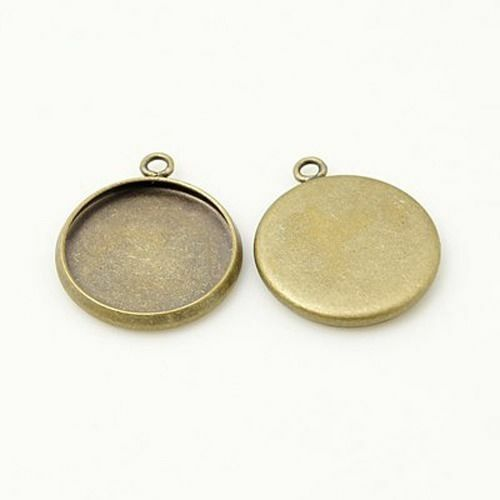 20x Antique Bronze Brass Blank Pendant 12mm Tray Setting Cabochons Jewely Making