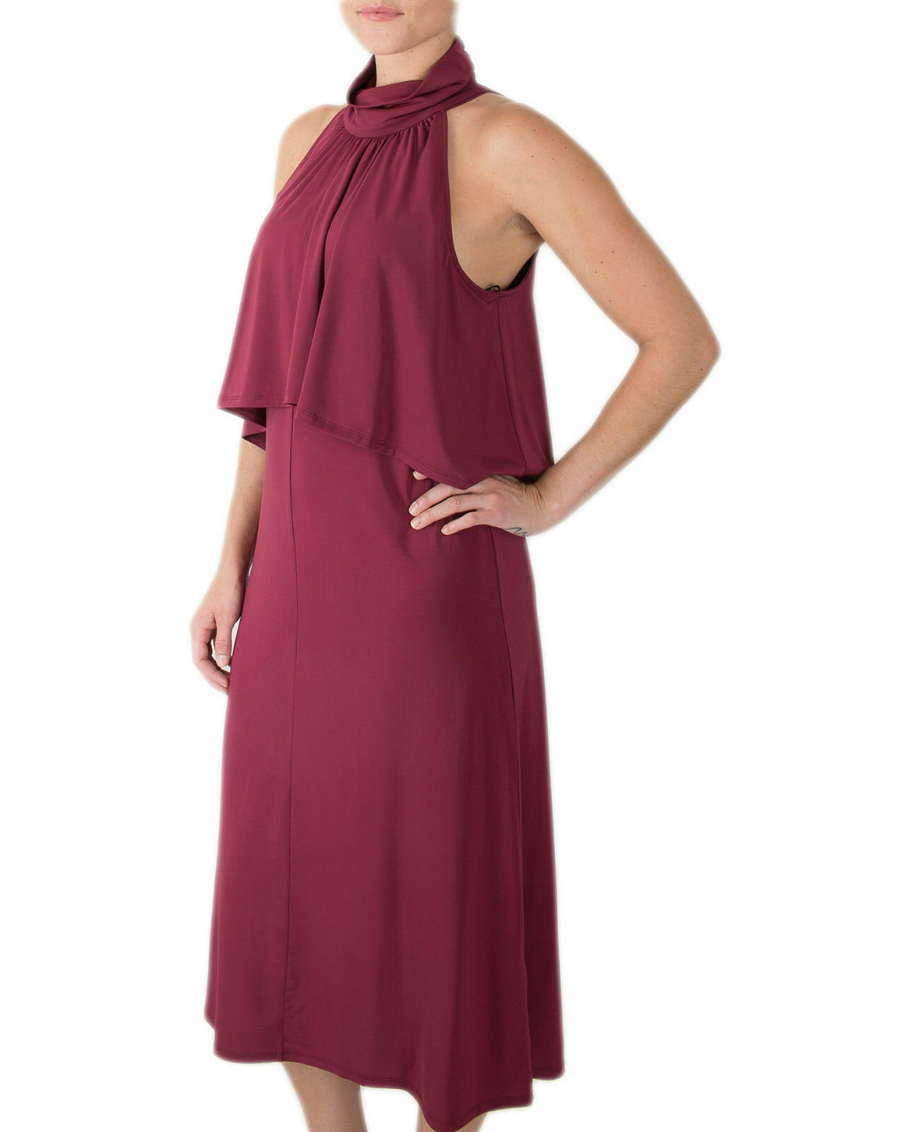 NWT Ella Moss Designer Elegant Aubriella Halter Port Red Midi Dress S