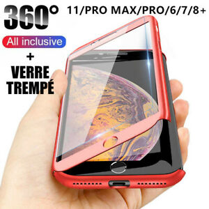 Coque-360-pour-iPhone-XS-Max-XR-11-Pro-6s-7-8-Plus-5-Protection-Antichoc-Verre