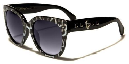 Designer Groß Schädel Gothik Sonnenbrille Cat Eye Groß Damen Mädchen Schwarz