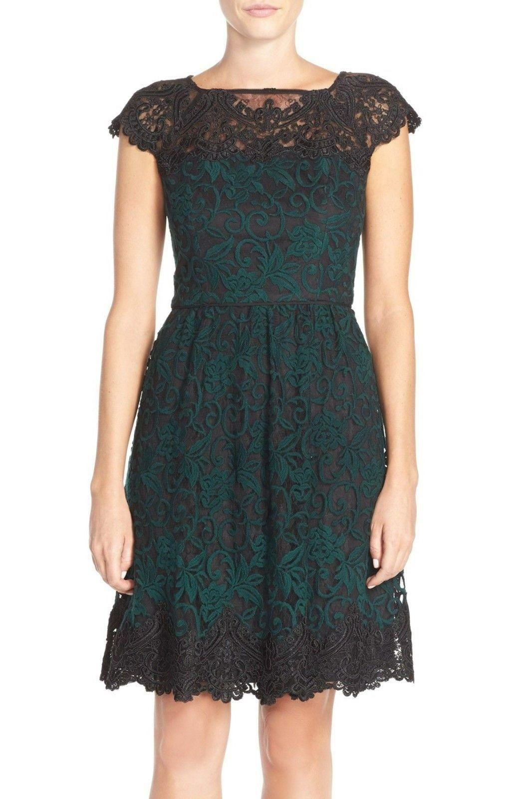 Adrianna Papell Embroiderot Lace Fit & Flare Dress schwarz Grün 16