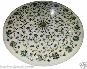 Image Is Loading 30 034 Round Table Top Marble Inlay Stone