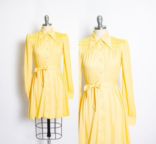 Vintage 1970s Dress Young Innocent Yellow Smocked
