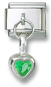 Italian-Charm-Dangle-Birthstone-Heart-CZ-Sterling-Silver-August-Stainless-Steel