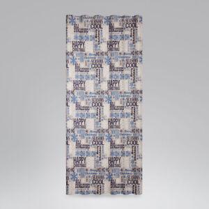 SCHONER-LEBEN-Vorhang-Smok-Schlaufenband-Christmas-Schriftzug-natur-blau-245cm