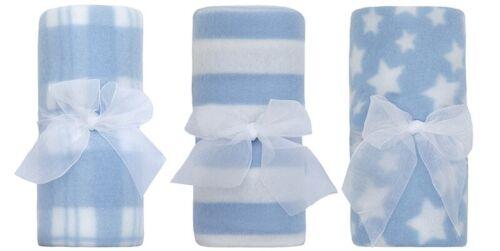 Baby Pink Blue Soft Light Fleece Comforter Blanket Moses Basket 75 x 75cm Pack 3