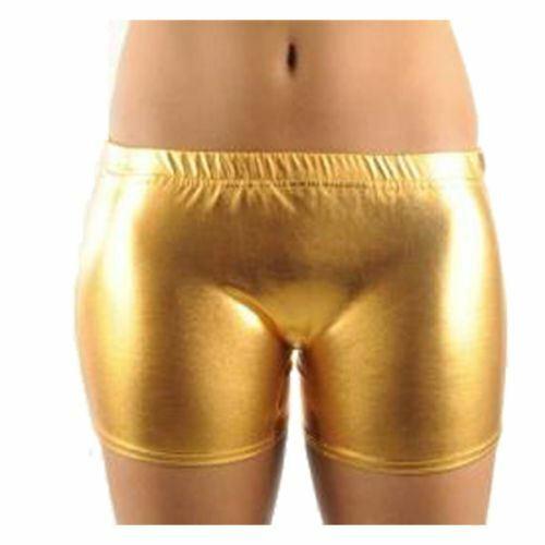Womens Wet Look Metallic Shiny Disco Short Ladies Gym Yoga Dance Party Hot Pants