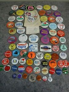 Large-Lot-of-Vintage-1960-039-s-1990-039-s-Pins-Political-Advertising