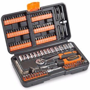 VonHaus Socket Set 130pc + Screwdriver Bit Set Including 72-teeth Ratchet Handle
