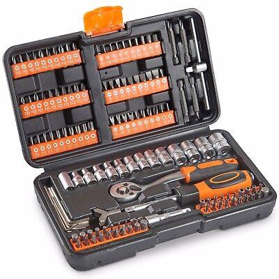 VonHaus 130pc Socket Set + Screwdriver Bits Including 72-teeth Ratchet Handle
