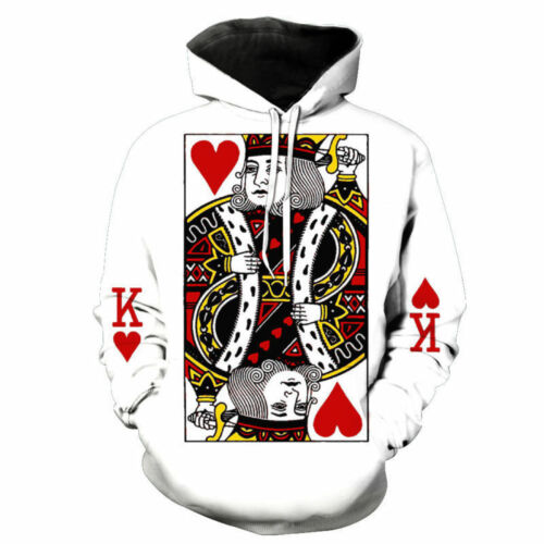 Womens//Mens Poker Hearts Funny 3D Print Casual Hoodies Sweatshirt Pullover H94