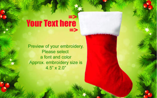 Personalized Custom Embroidered Christmas Xmas Stocking Fast Free Shipping