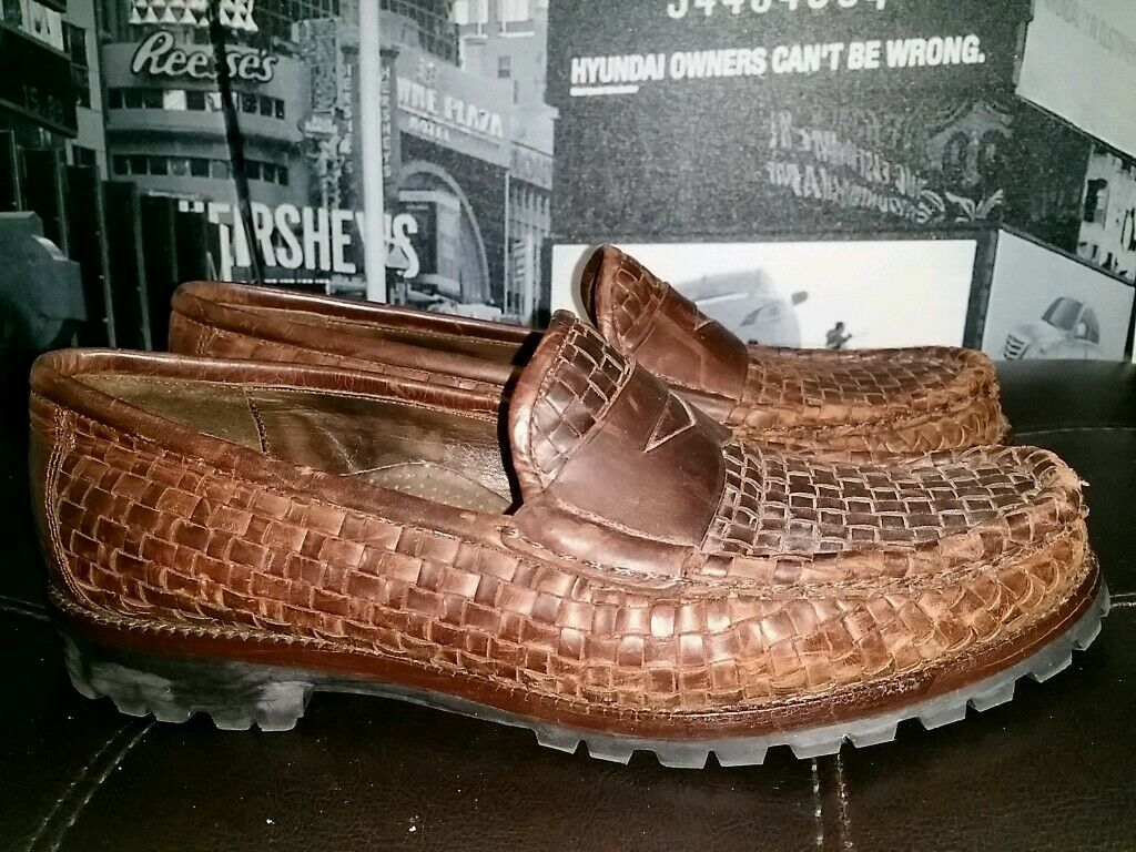 COLE PENNY HAAN FLEX COMFORT BROWN WOVEN LEATHER PENNY COLE LOAFER WOMEN Schuhe 7.5B 023f18