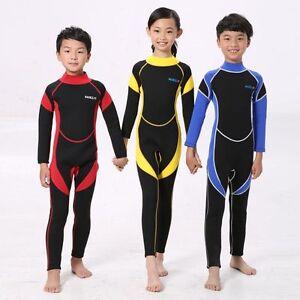 7fbde7d5b4b9e 3 Color Kids One-Piece Swimsuit Neoprene Wetsuit Boys Girls Long ...