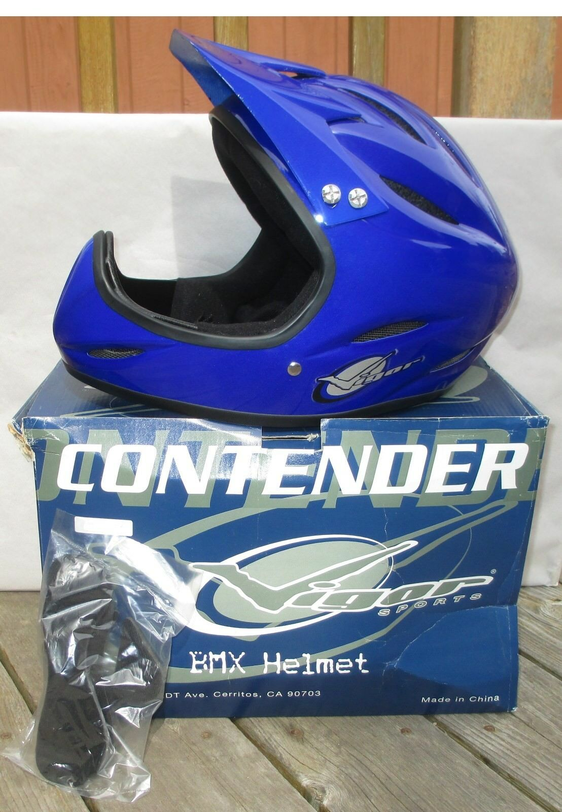 Vigor Deportes contendiente Full Face Bicicleta Bmx Casco Grande..... nos Azul