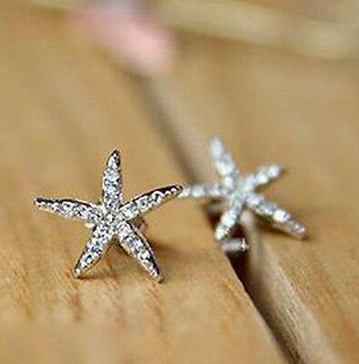 New Fashion Women Lady Elegant Starfish Crystal Rhinestone Ear Stud Earrings E99