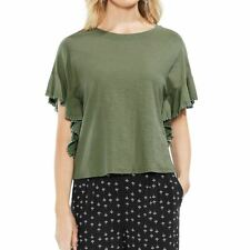 Vince Camuto Womens Printed Ruffle Sleeve Pullover Top Black M