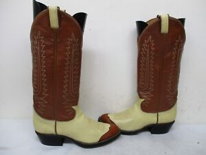 Tony Lama Brown Cream Leather Cap Toe Tall Cowboy Boots