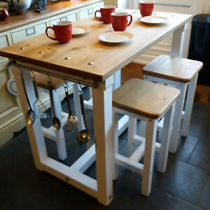 Rustic Kitchen Island Breakfast Bar Work Bench Butchers Block 4 Or 6 Stools Ebay