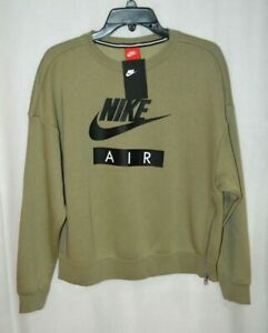 Details about Nike Women's Rally Crew Air GreenBlack Side Zip Sweatshirt Size SM AT5421 225