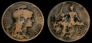 France-Republik-1900AD-AE-5-Centimes-Very-Fine-Error-034-Missing-1-from-1900-034