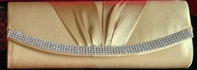 BEAUTIFUL Quality GOLD Wedding Evening Wear Clutch HANDBAG with attachable chain
