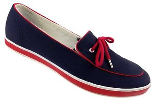 Details about Grasshoppers Womens Slip On Boat Shoe Sz 10S Blue Red White  Canvas Slip On Flats