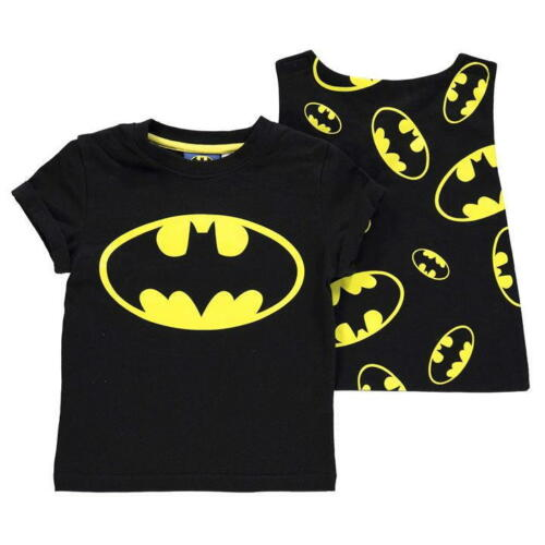 Os Meninos Crianças Infantil Dc Comics Batman Camiseta Parte Superior Com Logotipo Grande anexável Cape