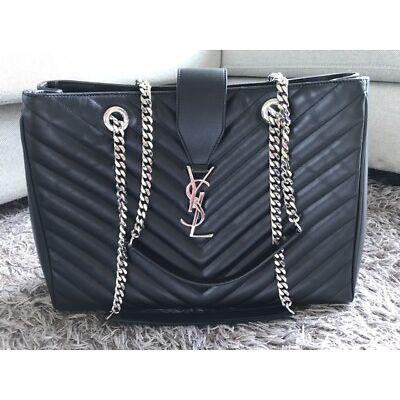 Genuine  YSL Yves Saint Laurent Monogram Grained Leather Shopper Bag,as NEW
