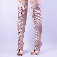 Womens Ladies Nude Satin Thigh High Over Knee Peep Toe Lace Up Heeled Boots Size