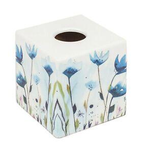 Green Fern Tissue Box Cover Holder  wooden handmade decoupaged uk