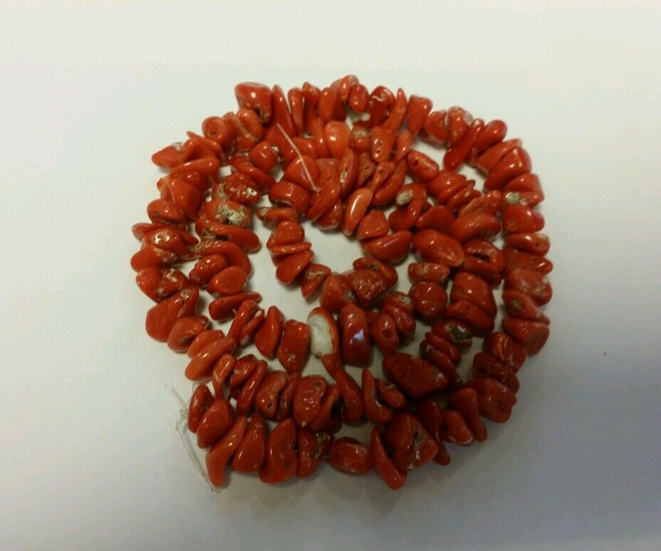 100% NATURAL VINTAGE RED CORAL BEADSl, UNSTRUNG GRADE A, 48.3 GRAMS, MUST SEE