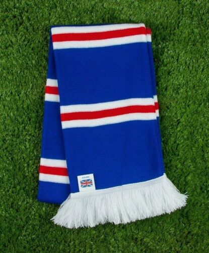 Rangers Colours Retro Bar Scarf Royal Made in UK Red /& White