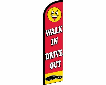 WALK IN DRIVE OUT Windless Full Curve Top Advertising Banner Flag Cars Car Lot S
